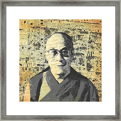 Dalai Lama - Retro Vintage Framed Print by Stacey Chiew