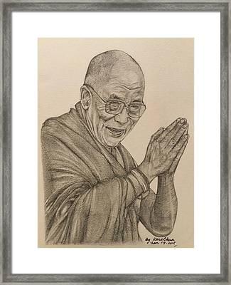 Dalai Lama Tenzin Gyatso Framed Print by Kent Chua