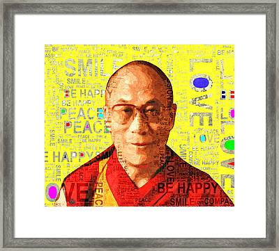 Dalai Lama - Yellow Framed Print by Stacey Chiew