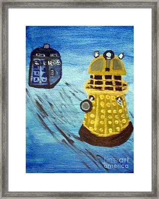 Dalek On Blue Framed Print by Elizabeth Arthur