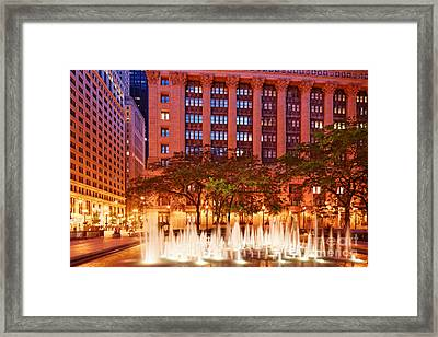 Daley Plaza At Dawn - City Of Chicago - Illinois Framed Print