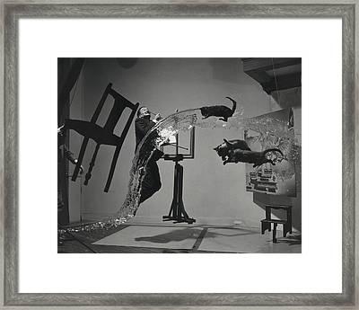 Dali  Atomicus By Philippe Halsman Framed Print