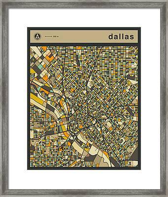 Dallas City Map Framed Print