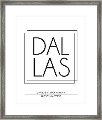 Dallas City Print With Coordinates Framed Print