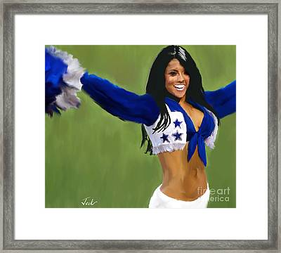 Dallas Cowboys Cheerleader Framed Print by Jack Bunds