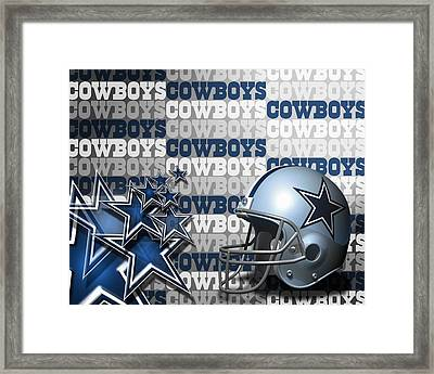 The Dallas Cowboys Football Team Helmet And Stars Framed Print by Donna Wilson