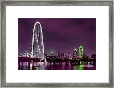 Dallas Lights Reflected Into Overcast Night Skies Framed Print