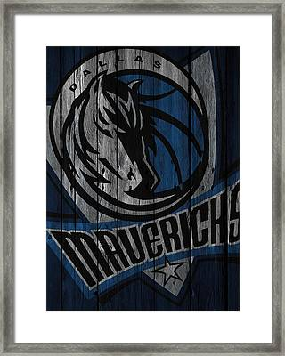 Dallas Mavericks Wood Fence Framed Print