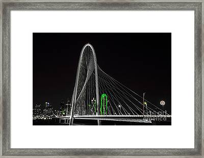 Dallas Nightscape With Green Framed Print by John Roberts