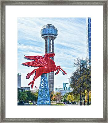 Dallas Pegasus With Reunion Tower Framed Print by Tod and Cynthia Grubbs