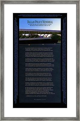 Dallas Police Memorial Poster - Updated 2017 Framed Print
