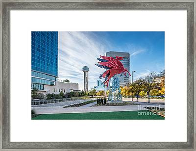 Dallas Neon Red Pegasus Framed Print by Tod and Cynthia Grubbs