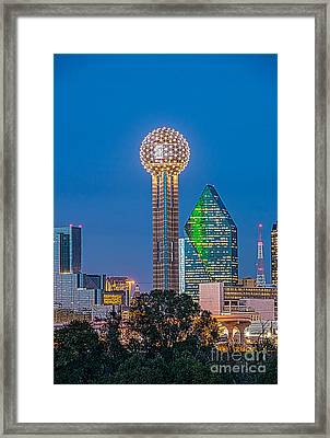 Dallas Reunion Tower Twilight Framed Print by Tod and Cynthia Grubbs