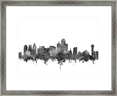Dallas Skyline Black And White Framed Print