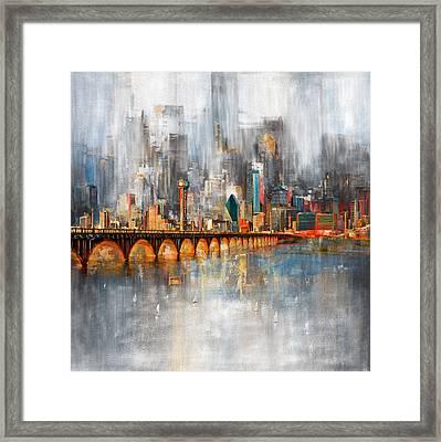 Dallas Skyline 217 1 Framed Print by Mawra Tahreem