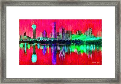 Dallas Skyline 6 - Da Framed Print by Leonardo Digenio