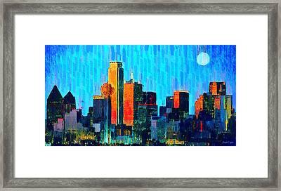 Dallas Skyline 60 - Da Framed Print by Leonardo Digenio