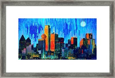 Dallas Skyline 76 - Da Framed Print by Leonardo Digenio