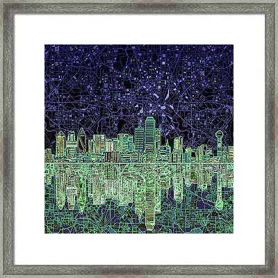 Dallas Skyline Abstract 4 Framed Print by Bekim Art