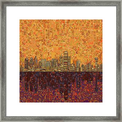 Dallas Skyline Abstract Framed Print