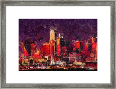 Dallas Skyline Art - Colorful Modern Painting Framed Print by Wall Art Prints