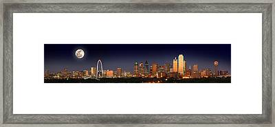 Dallas Skyline At Dusk Big Moon Night  Framed Print