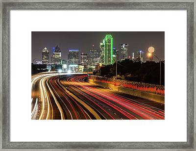 Framed Print featuring the photograph Dallas Skyline At Night by Gregory Ballos
