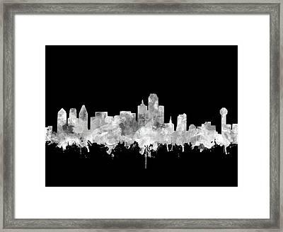 Dallas Skyline Black And White 2 Framed Print