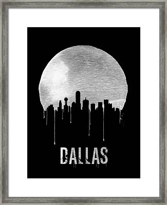 Dallas Skyline Black Framed Print by Naxart Studio