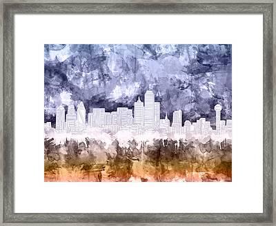Dallas Skyline Brush Strokes 3 Framed Print