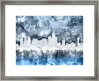 Dallas Skyline Brush Strokes Blue 2 Framed Print