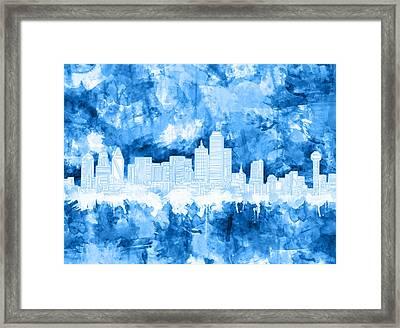 Dallas Skyline Brush Strokes Blue Framed Print