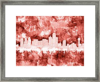Dallas Skyline Brush Strokes Red Framed Print
