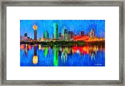 Dallas Skyline - Da Framed Print by Leonardo Digenio
