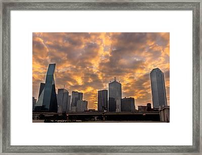 Dallas Skyline Framed Print by Drew Castelhano
