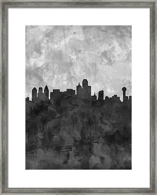 Dallas Skyline Grunge Black And White Framed Print