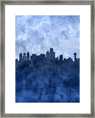 Dallas Skyline Grunge Blue Framed Print