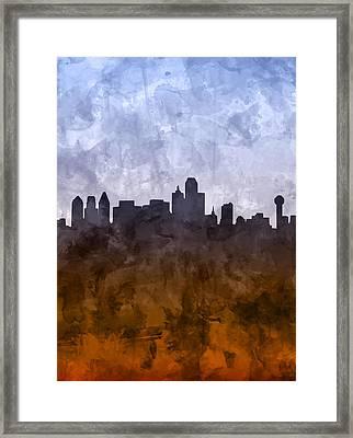 Dallas Skyline Grunge Framed Print
