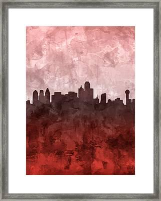 Dallas Skyline Grunge Red Framed Print