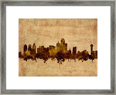 Dallas Skyline Grunge Sepia Framed Print