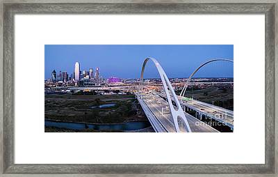 Dallas Skyline In Pink Panorama Framed Print