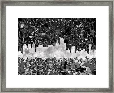 Dallas Skyline Map Black And White 2 Framed Print