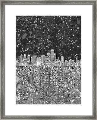 Dallas Skyline Map Black And White 3 Framed Print