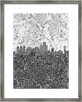 Dallas Skyline Map Black And White 4 Framed Print