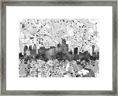 Dallas Skyline Map Black And White Framed Print