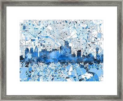 Dallas Skyline Map Blue 2 Framed Print