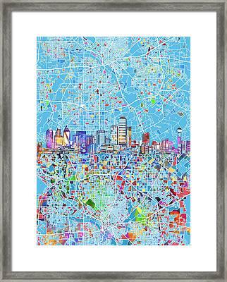Dallas Skyline Map Blue 3 Framed Print