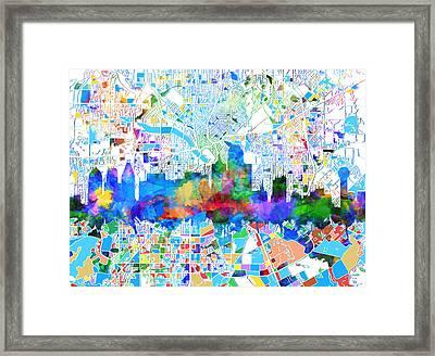Dallas Skyline Map Color 2 Framed Print