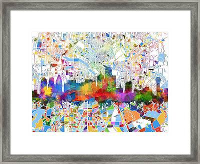 Dallas Skyline Map Color 3 Framed Print