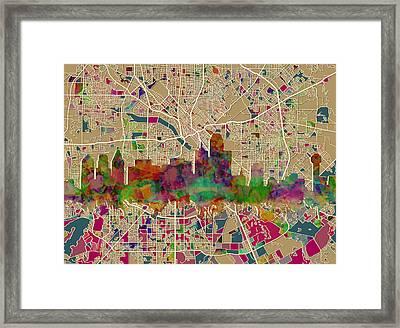 Dallas Skyline Map Color Framed Print